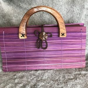 Purple bamboo handbag with wood handle